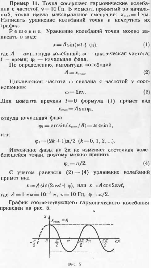 Точка совершает гармонические колебания с частотой 10 Гц. В момент, принятый за начальный точка имела максимальное смеще..., Задача 13329, Физика
