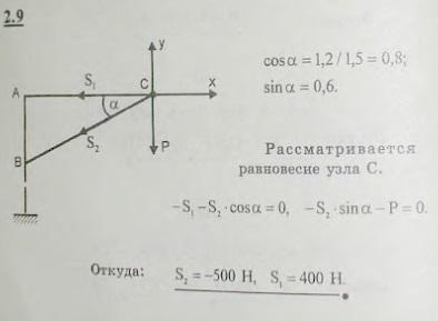 Уличный фонарь веса 300 Н подвешен к вертикальному столбу с помощью горизонтальной поперечины AC=1,2 м и ..., Задача 2612, Теоретическая механика