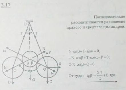 Два одинаковых цилиндра I веса P каждый подвешены на нитях к точке O. Между ними лежит цилиндр II веса Q. Вся ..., Задача 2620, Теоретическая механика
