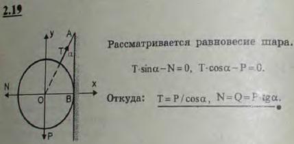 К вертикальной гладкой стене AB подвешен на тросе AC однородный шар O. Трос составляет со стеной угол α, вес шара ..., Задача 2622, Теоретическая механика