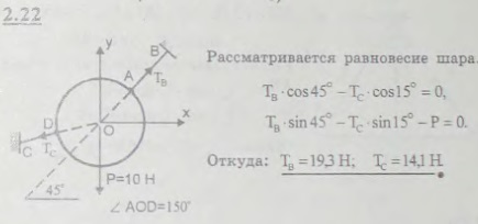 Однородный шар веса 10 Н удерживается в равновесии двумя тросами AB и CD, расположенными в одной вертикальной плоско..., Задача 2625, Теоретическая механика