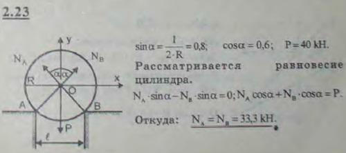 Котел с равномерно распределенным по длине весом P=40 кН и радиуса R=1 м лежит на выступах каменной кладки. ..., Задача 2626, Теоретическая механика