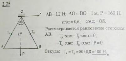 Однородный стержень AB веса 160 Н, длины 1,2 м подвешен в точке C на двух тросах AC и CB одинаков..., Задача 2628, Теоретическая механика