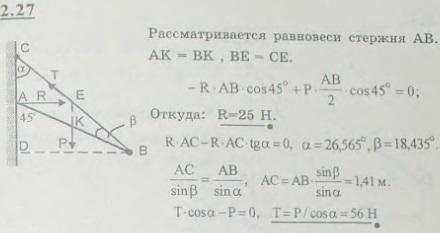 Верхний конец A однородного бруса AB, длина которого 2 м, а вес 50 Н, упирается в гладкую вертикальную с..., Задача 2630, Теоретическая механика