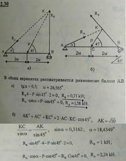 Балка AB шарнирно закреплена на опоре A; у конца B она положена на катки. В середине балки, под углом 45° к ее оси,..., Задача 2633, Теоретическая механика