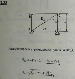 Для рамы, изображенной на рисунке, определить опорные реакции RA и RD, возникающие при действии горизонтальн..., Задача 2636, Теоретическая механика