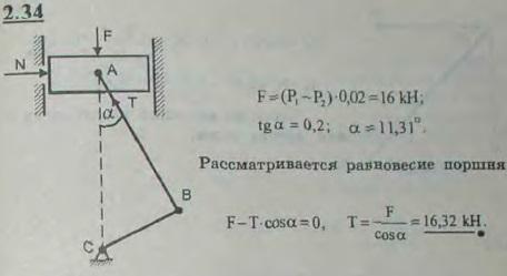 В двигателе внутреннего сгорания площадь поршня равна 0,02 м2, длина шатуна AB=30 см, длина кривошипа BC=6 см. Давление..., Задача 2637, Теоретическая механика