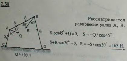 К шарниру A стержневого шарнирного четырехугольника ABDC, сторона CD которого закреплена, приложена сила Q=100 Н под углом BAQ=45°. Определить в..., Задача 2641, Теоретическая механика