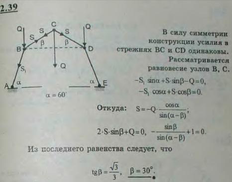 Стержневой шарнирный многоугольник состоит из четырех равных стержней; концы A и E шарнирно закреплены; узлы B, C и D нагружены одинаковой вертик..., Задача 2642, Теоретическая механика