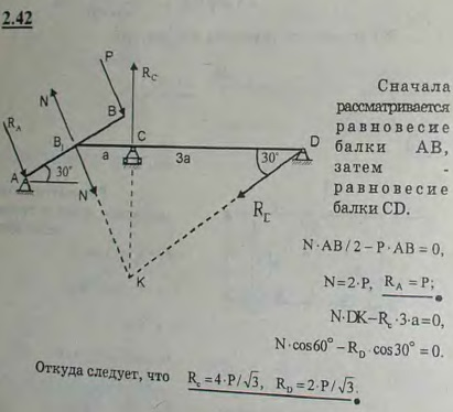 Наклонная балка AB, на конец которой действует сила P, серединой B1 опирается на ребро консоли балки CD...., Задача 2645, Теоретическая механика