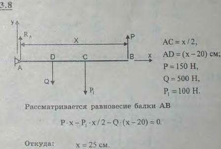Горизонтальный стержень AB веса 100 Н может вращаться вокруг неподвижной оси шарнира A. Конец B оттягивается квер..., Задача 2666, Теоретическая механика