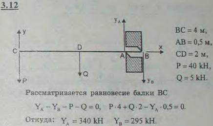 Однородная горизонтальная балка длины 4 м и веса 5 кН заложена в стену, толщина которой равна 0,5 м, так, что опирае..., Задача 2670, Теоретическая механика