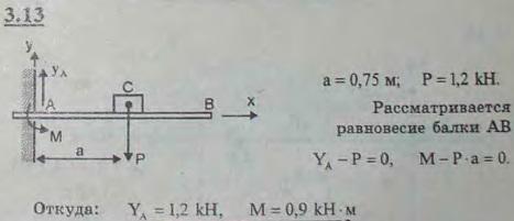 Горизонтальная балка заделана одним концом в стену, а на другом конце поддерживает подшипник вала. От ..., Задача 2671, Теоретическая механика
