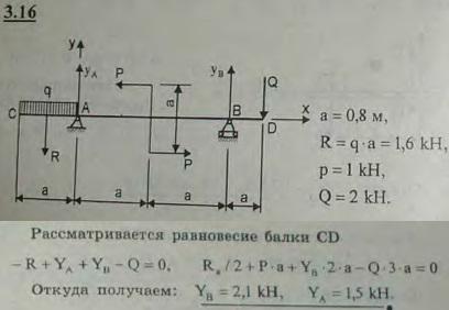 На двухконсольную горизонтальную балку действует пара сил (P, P), на левую консоль — равномерно распределенная нагрузка интенси..., Задача 2674, Теоретическая механика