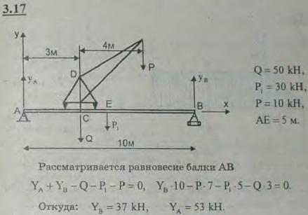 На балке AB длины 10 м уложен путь для подъемного крана. Вес крана равен 50 кН, и центр тяжести его находится на оси ..., Задача 2675, Теоретическая механика