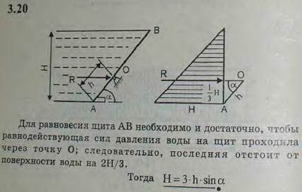 Прямоугольный щит AB ирригационного канала может вращаться относительно оси O. Если уровень воды невысок, щит закрыт, но, когда вода достигает некот..., Задача 2678, Теоретическая механика