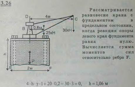 Подъемный кран установлен на каменном фундаменте. Вес крана Q=25 кН и приложен в центре тяжести A на расстоянии AB=0,8 м от оси крана; выл..., Задача 2684, Теоретическая механика