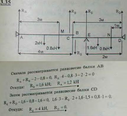Балка AB длины 4 м, веса 2 кН может вращаться вокруг горизонтальной оси A и опирается концом B на другу..., Задача 2693, Теоретическая механика