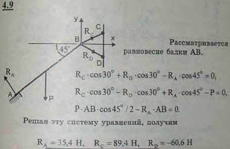 Однородная плита AB веса P=100 Н свободно опирается в точке A и удерживается под углом 45° к горизонту двумя ..., Задача 2705, Теоретическая механика