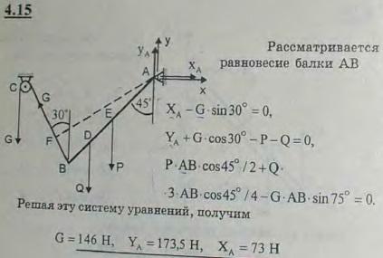 Однородная балка AB веса P=100 Н прикреплена к стене шарниром A и удерживается под углом 45 к вертикали при помощи ..., Задача 2711, Теоретическая механика