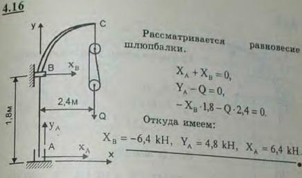 Шлюпка висит на двух шлюпбалках, причем вес ее, равный 9,6 кН, распределяется между ними поровну. Шлюпбалка A..., Задача 2712, Теоретическая механика