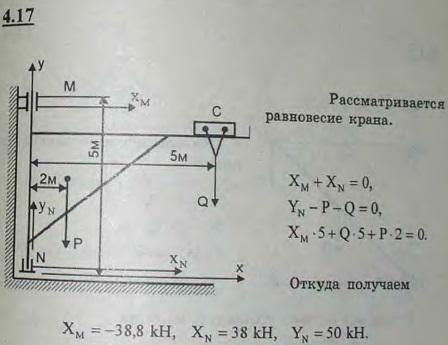 Литейный кран ABC имеет вертикальную ось вращения MN; расстояния: MN=5 м; AC=5 м; вес крана 20 кН, центр тяжести его D находитс..., Задача 2713, Теоретическая механика