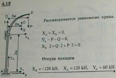 Кран в шахте, поднимающий груз P=40 кН, имеет подпятник A и в точке B опирается на гладкую цилиндрическу..., Задача 2714, Теоретическая механика