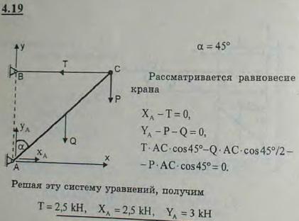 Кран для подъема тяжестей состоит из балки AB, нижний конец которой соединен со стеной шарниром A, а в..., Задача 2715, Теоретическая механика