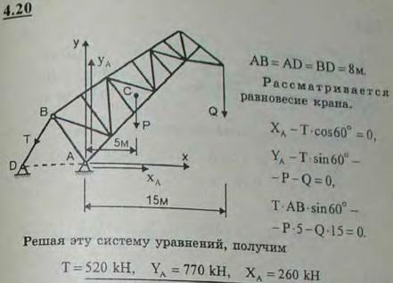 Кран имеет шарниры в точках A, B и D, причем AB=AD=BD=8 м. Центр тяжести фермы крана находится на расстоянии 5 м..., Задача 2716, Теоретическая механика