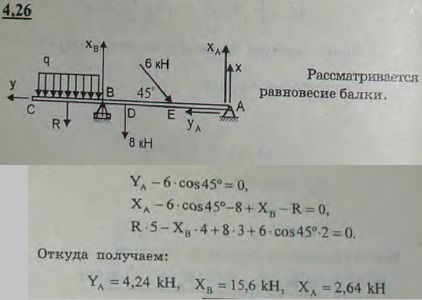 Определить реакции опор A и B балки, находящейся под действием двух сосредоточенных сил и равномерно ра..., Задача 2722, Теоретическая механика