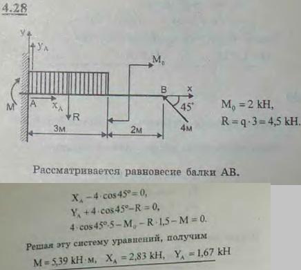 Определить реакции заделки консольной балки, изображенной на рисунке и находящейся под действием равномерно ра..., Задача 2724, Теоретическая механика