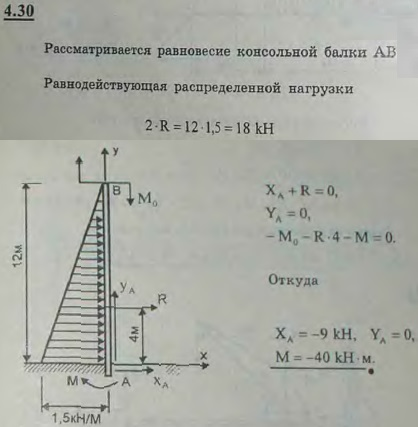 Определить реакции заделки консольной балки, изображенной на рисунке и находящейся под действием пары сил и расп..., Задача 2726, Теоретическая механика
