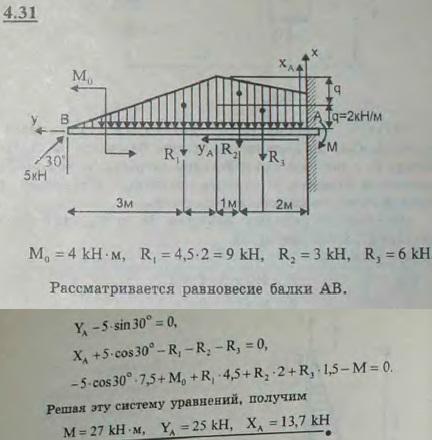 Определить реакцию заделки консольной балки, изображенной на рисунке и находящейся под действием соср..., Задача 2727, Теоретическая механика