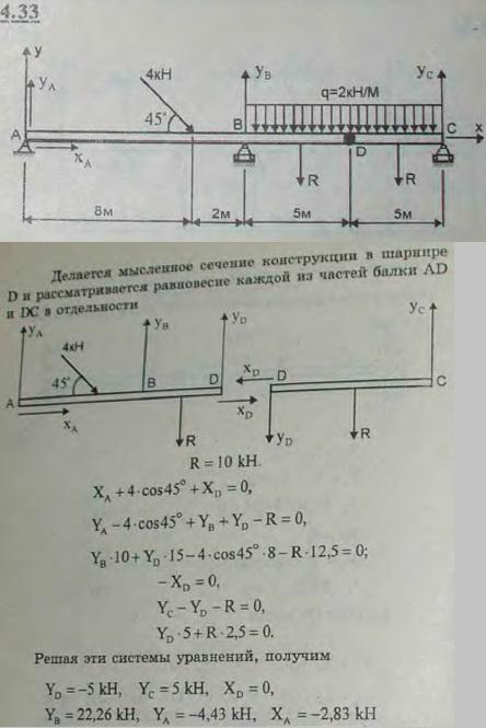 Определить реакции опор A, B, C и шарнира D составной балки, изображе..., Задача 2729, Теоретическая механика