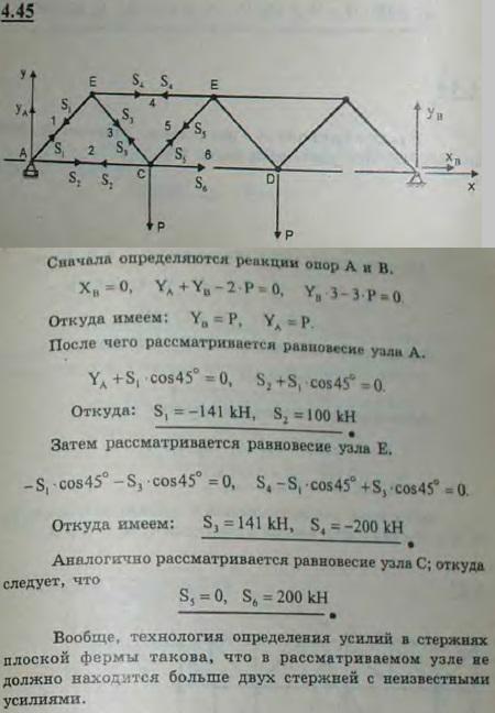 В мостовой ферме, изображенной на рисунке, на узлы C и D приходится одинаковая вертикальная нагрузка P=100 кН; накло..., Задача 2741, Теоретическая механика
