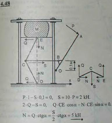 Найти величину усилия, сжимающего предмет M в прессе, при следующих условиях: усилие P=0,2 кН и направлено перпендикулярно рычагу OA, имеющему неподв..., Задача 2744, Теоретическая механика