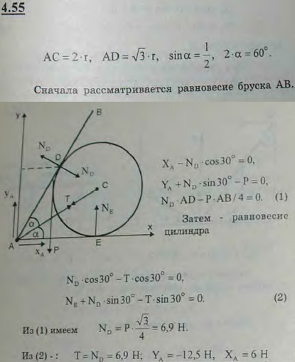 Однородный брусок AB, который может вращаться вокруг горизонтальной оси A, опирается на поверхность глад..., Задача 2751, Теоретическая механика