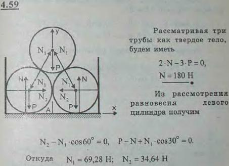Три одинаковых трубы веса M=120 Н каждая лежат, как указано на рисунке. Определить давление каждой из нижних труб на зе..., Задача 2755, Теоретическая механика