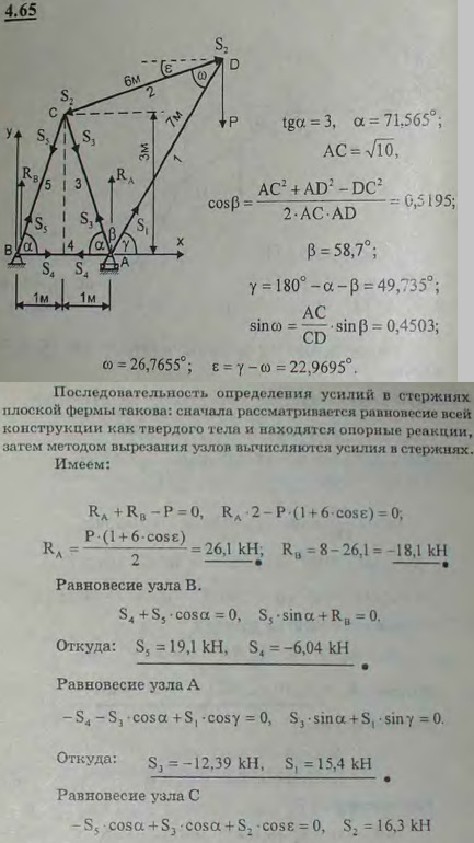 Определить опорные реакции и усилия в стержнях крана, изображенного на рисунке, при ..., Задача 2761, Теоретическая механика
