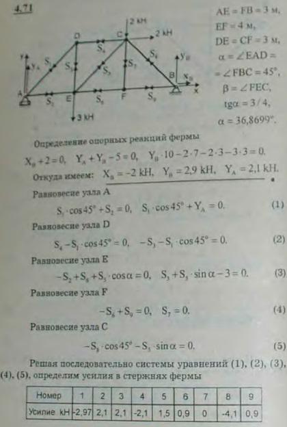 Определить опорные реакции и усилия в стержнях мостовой фермы, которая вместе с прило..., Задача 2767, Теоретическая механика