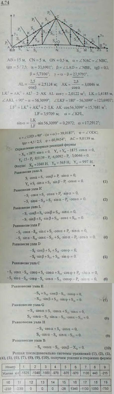В узлах стропильной фермы с равными панелями вследствие давления ветра возникают силы, перпендикулярные кровле: P1=P4=312,..., Задача 2770, Теоретическая механика
