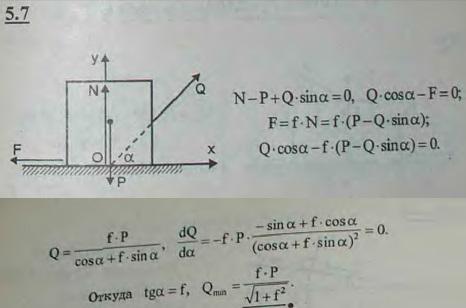 Ящик веса P стоит на шероховатой горизонтальной плоскости с коэффициентом трения f. Определить, под каким..., Задача 2777, Теоретическая механика