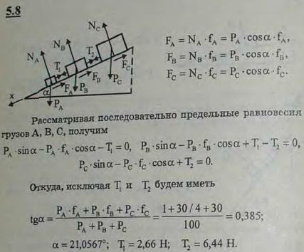 Три груза A, B, C веса 10 Н, 30 Н и 60 Н соответственно лежат на плоскости, наклоненной под углом α к горизонту. Грузы соед..., Задача 2778, Теоретическая механика