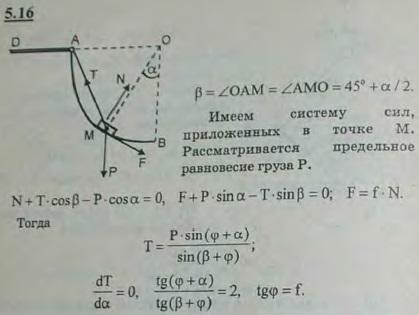 Груз B веса P удерживается с помощью троса BAD в равновесии при подъеме по шероховатой поверхности, имеющей форму четверти кругового цили..., Задача 2786, Теоретическая механика
