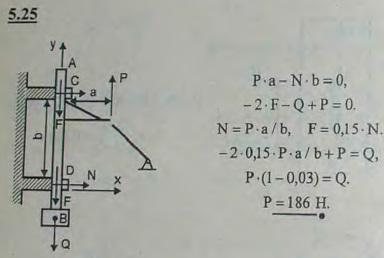 Пест AB приводится в движение пальцами M, насаженными на вал. Вес песта 180 Н. Расстояние между направляющими C и D равно..., Задача 2795, Теоретическая механика