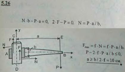 Горизонтальный стержень AB имеет на конце A отверстие, которым он надет на вертикальную круглую стойку CD; длина втулки b=2..., Задача 2796, Теоретическая механика