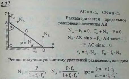 К вертикальной стене приставлена лестница AB, опирающаяся своим нижним концом на горизонтальный пол. Коэффициент трения лестницы о стену f1, о пол f..., Задача 2797, Теоретическая механика