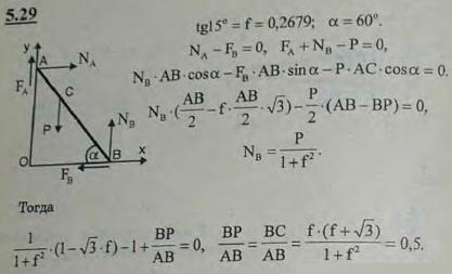 Лестница AB опирается на негладкую стену и негладкий пол, составляя с последним угол 60°. На лестнице помещается груз P. Пренебрегая весо..., Задача 2799, Теоретическая механика