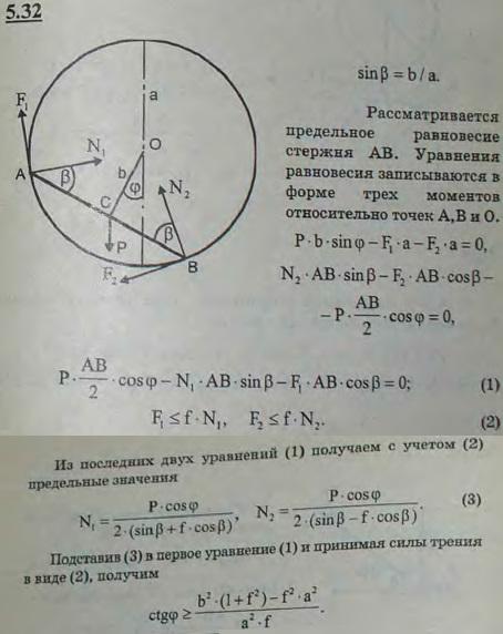 Однородный стержень своими концами A и B может скользить по негладкой окружности радиуса a. Расстояние OC стержня до ц..., Задача 2802, Теоретическая механика