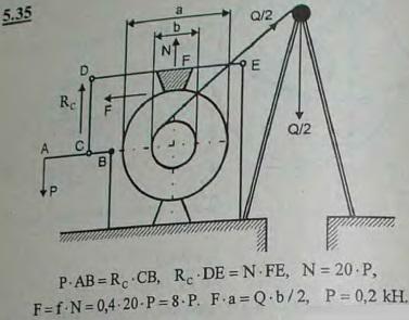 Для опускания грузов употребляется ворот с тормозом, изображенный на рисунке. С барабаном, на который намотана цепь, скреплено концентрическое деревянное колесо, которое то..., Задача 2805, Теоретическая механика